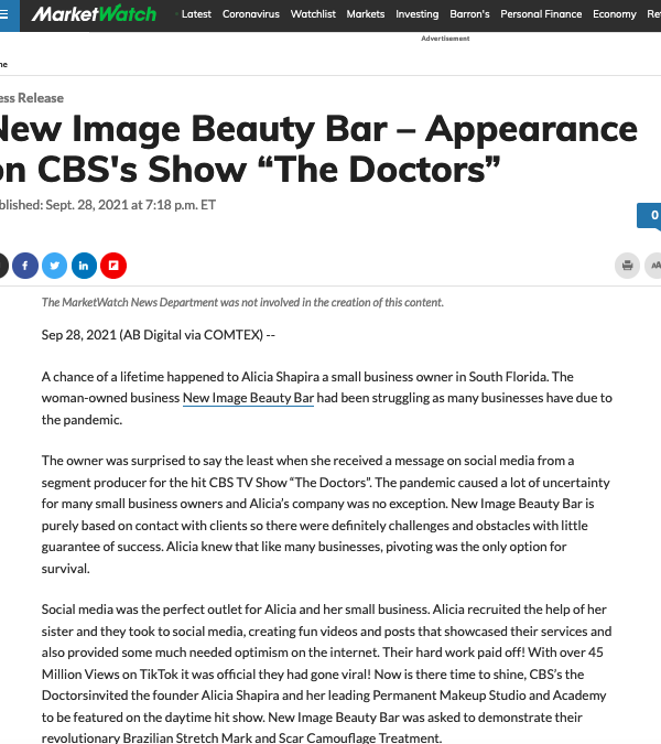 New Image Beauty Bar – Featured on Market Watch