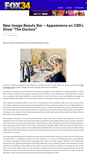 New Image Beauty Bar – Featured on Fox 34